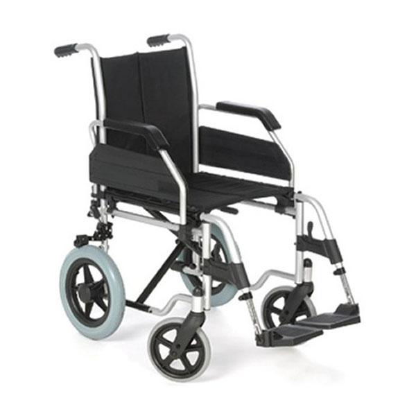 Silla de ruedas plegable de acero no autopropulsable