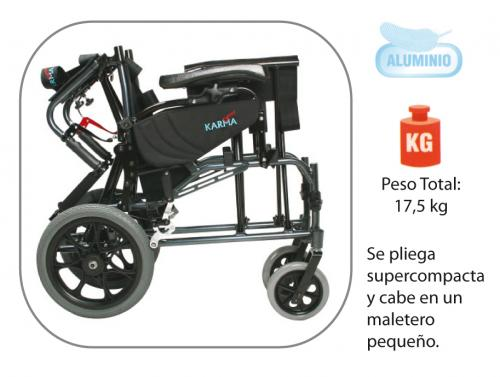Vista plegada de la silla de ruedas plegable de aluminio basculante Karma modelo Vip