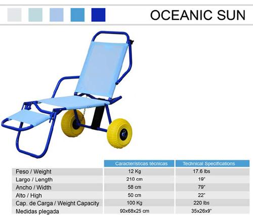 Datos técnicos de la hamaca adaptada para playa y piscina Oceanic Sun